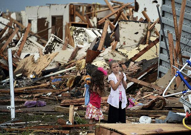 two girls tornado destruction