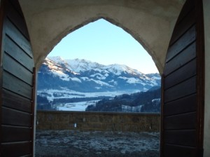 View of the Swiss Alps from the Chateau Gruyere