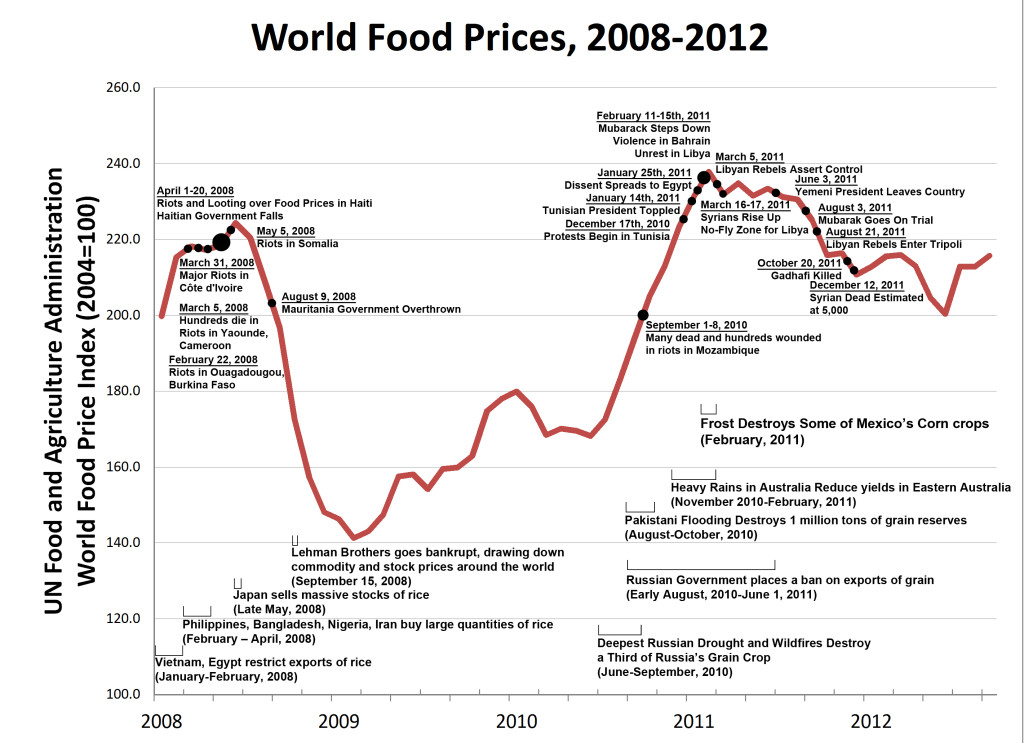 Changes in the FAO World Food Price Index and major instability events globally from 2008-2012 (courtesy of American Security Project).