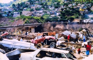 Damage in Tegucigalpa, Honduras following Hurricane Mitch in 1998 (photo courtesy of NOAA).