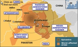 Map of the affected areas & epicenter of the 2005 Kashmir Earthquake. Courtesy of the BBC.
