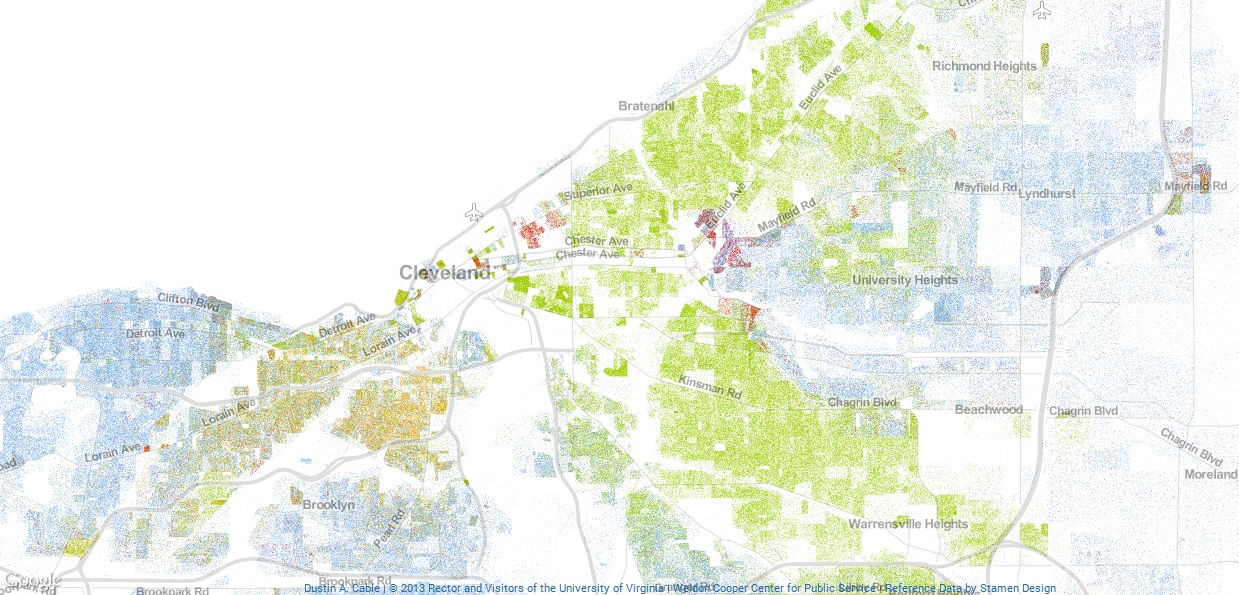 map of Cleveland showing racial divide