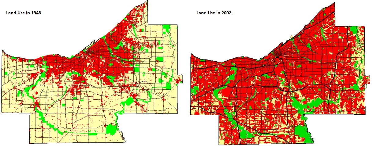 cuyahoga county land use in 1948 & 2002