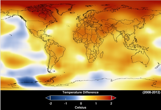 map of temperature anomalies from NASA