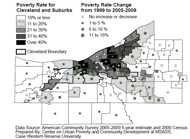 map of poverty rates in Northeast Ohio