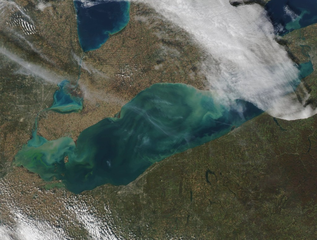 satellite image algae lake erie
