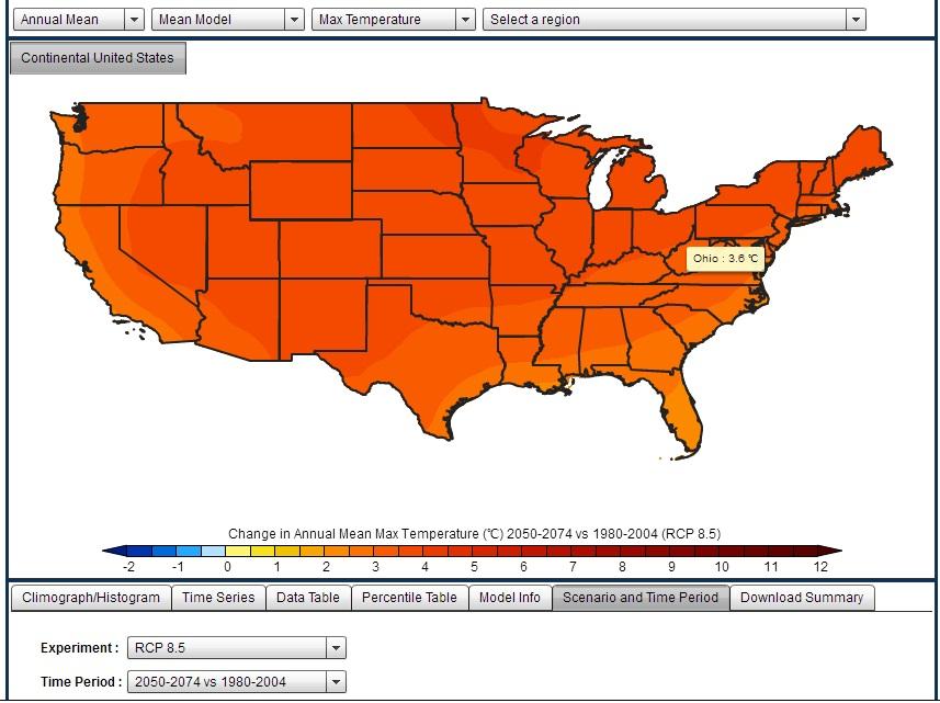 temperature increases ohio worst case scenario in 2050-2074