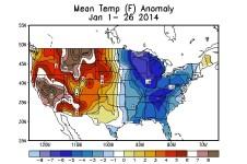 map mean temperature anomalies january 2014