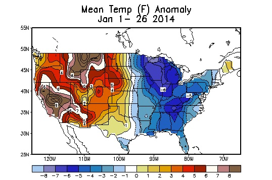 map mean temperature anomalies january 2014