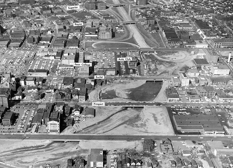 aerial photo of innerbelt bridge construction cleveland
