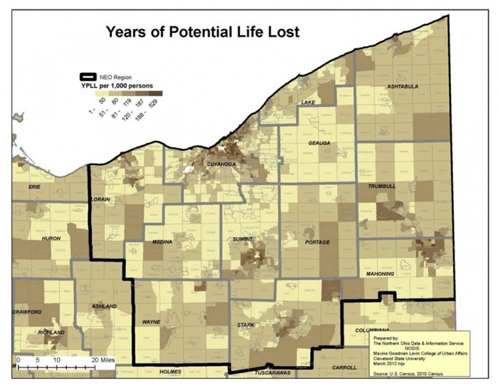 years of potential life lost northeast ohio