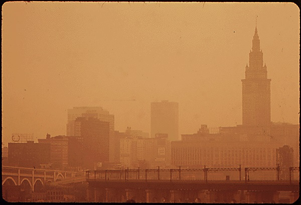 cleveland skyline pollution 7-20-1973