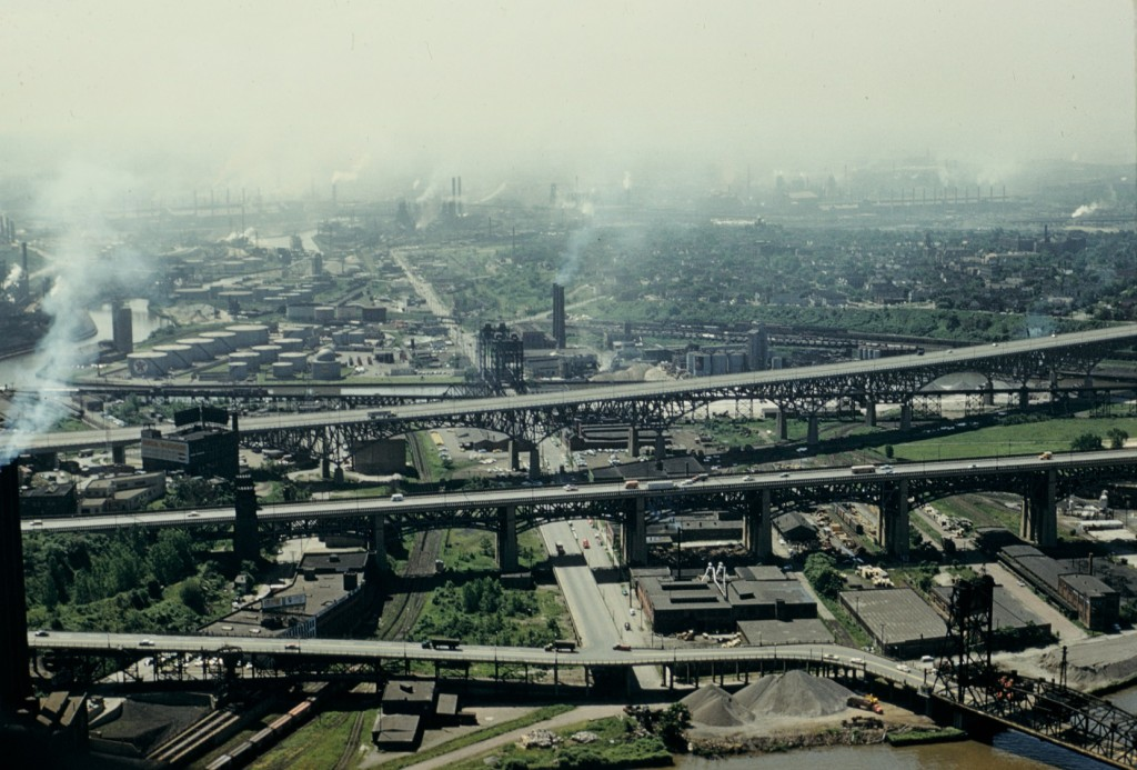 Industrial pollution obscures Cleveland's cityscape in this 1960 photo from Robert Wyly (courtesy of Elvin Wyly).