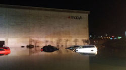 Floodwaters submerged vehicles in the parking lot at Great Northern mall in North Olmsted on May 12 (courtesy of Cleveland.com).