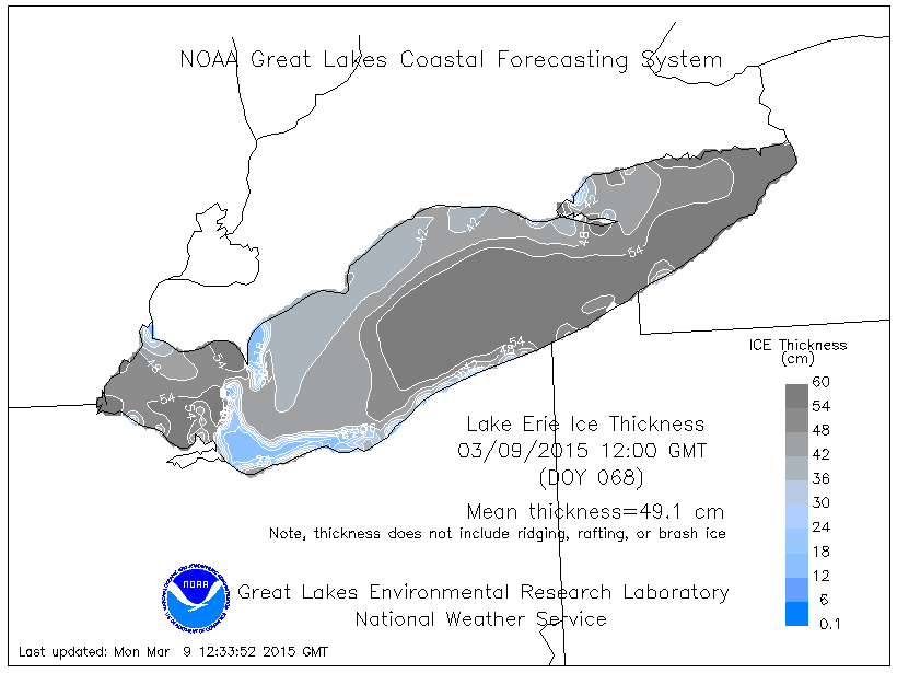 lake erie ice thickness march 9, 2015