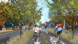 A rendering of the proposed Cleveland Midway, a network of protected cycle tracks that would run across the city (courtesy of Bike Cleveland).
