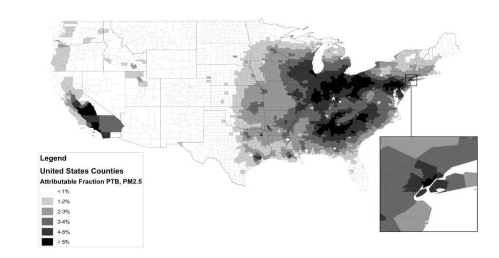 preterm birth from pollution by county
