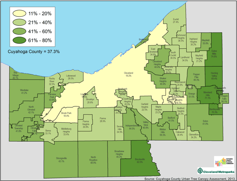 cuyahoga county tree canopy by community