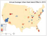 urban heat island effect by city