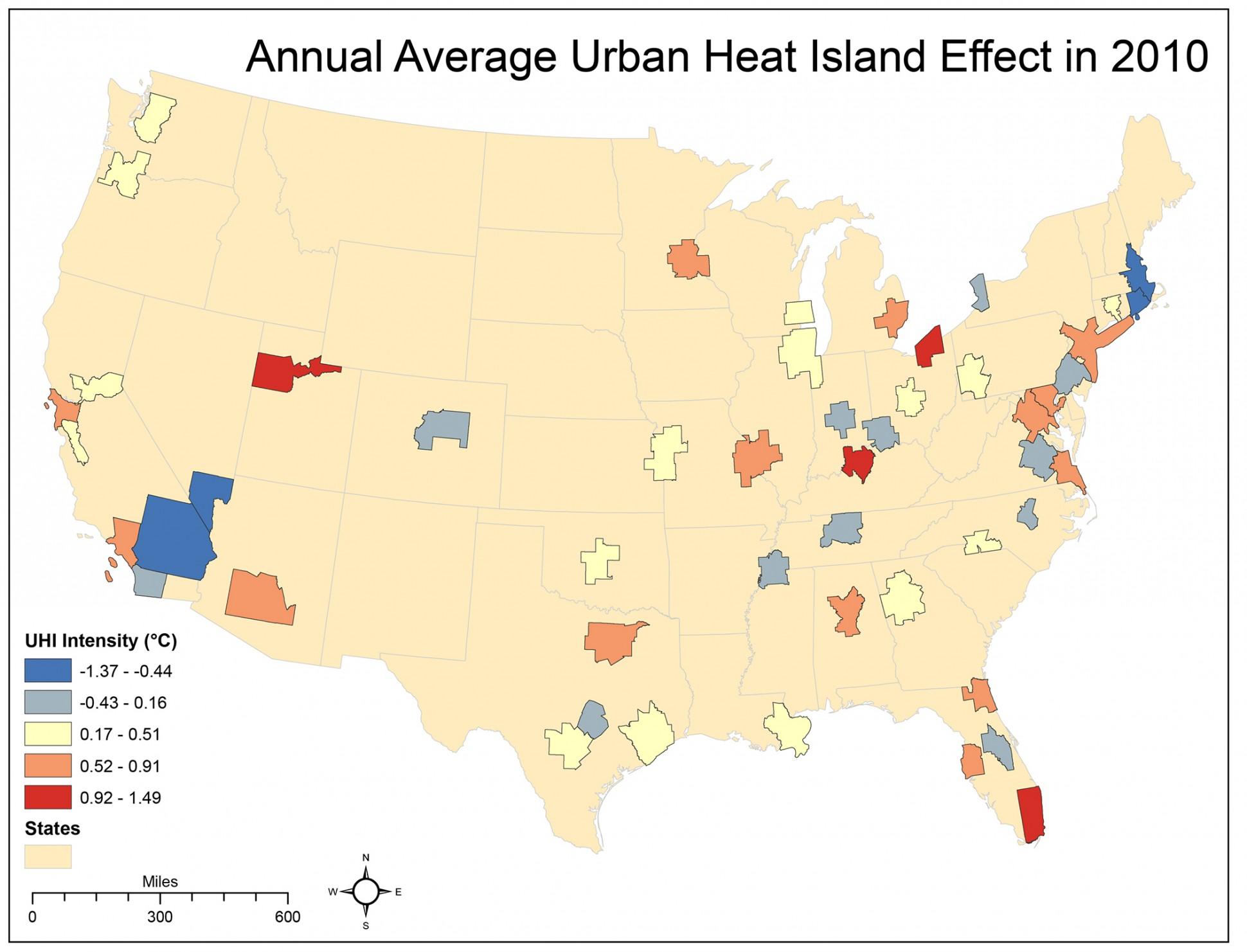 urban heat island effect by city
