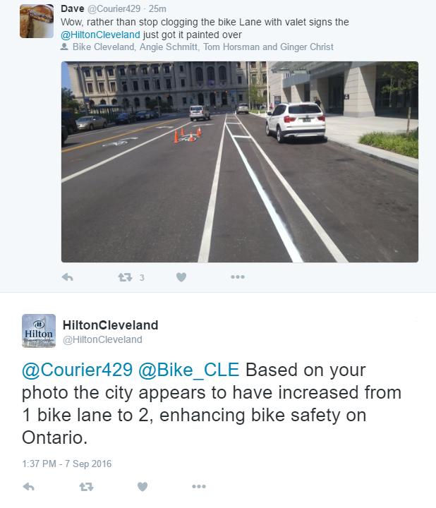 hilton response ontario bike lane