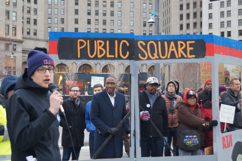 public square bus protest