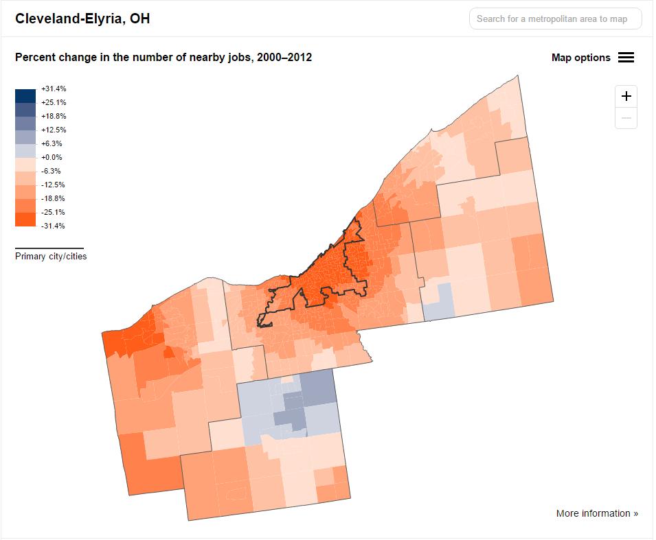 cleveland job sprawl 2000-2012